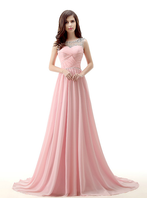 A-Line Pink Chiffon Backless Long Prom Dress With Pleats Crystal