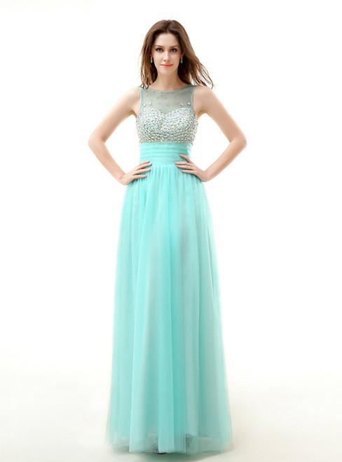 A-Line Green Tulle Backless Long Prom Dress With Crystal