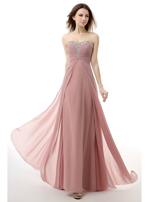 Pink Chiffon Sweetheart Neck Pleats Floor Length Prom Dress