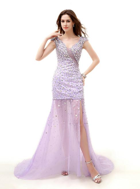 Purple Mermaid V-neck Tulle Crystal Prom Dress With Side Split