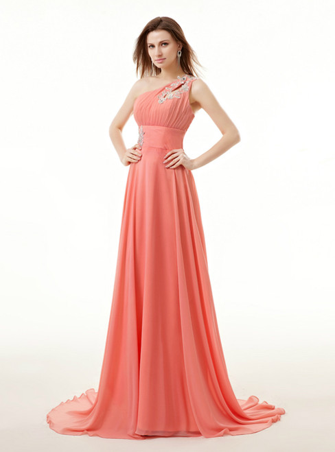 Red Chiffon One Shoulder Backless Appliques Bridesmaid Dress