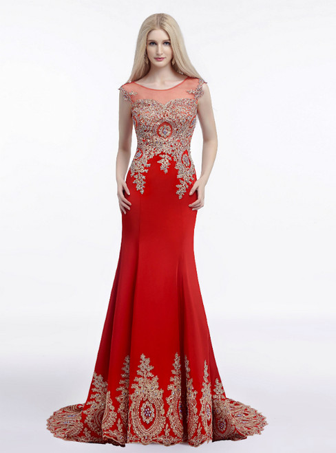 Red Mermaid Satin Gold Appliques Cap Sleeve Prom Dress