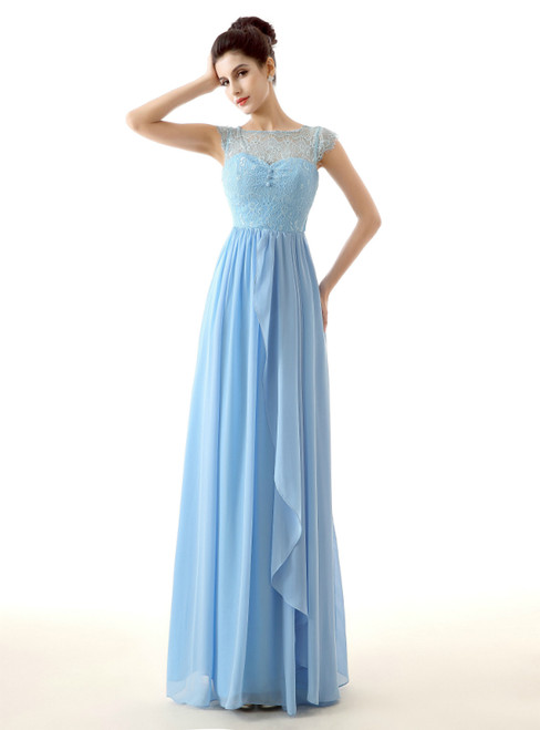Blue Chiffon Lace Pleats Long Floor Length Bridesmaid Dress