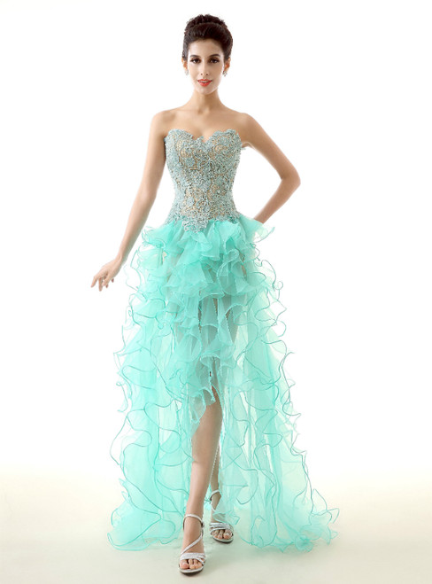 Green Hi Lo Organza Lace Sweetheart Neck Appliques Prom Dress