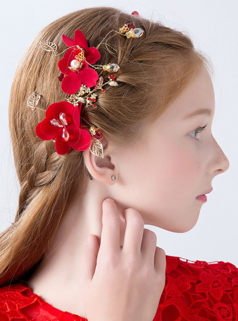 Princess Wreath Hairband Girls Red Flower Hair Accessories