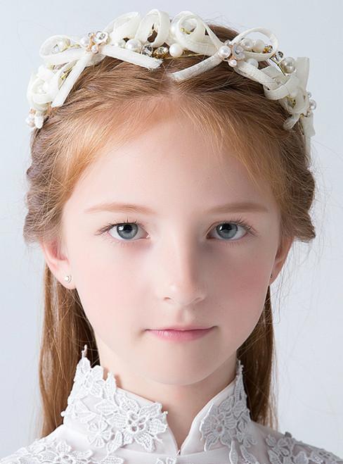 White Bow Flower Hairband Girl Princess Headdress