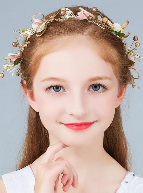 Tiara Wreath Crown Girl Pink Flower Pearls