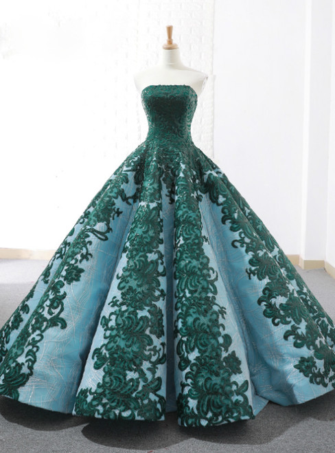 Vintage Green Ball Gown Appliques Sequins Strapless Weddign Dress