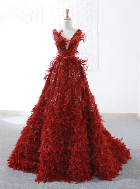 A-Line Red Sequins Feather V-neck Deep Backless Wedding Dress