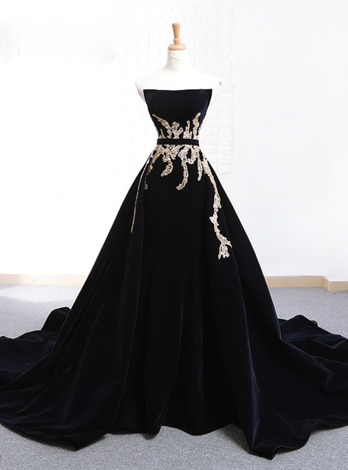 Black Velvet Strapless Crystal With Long Train Wedding Dress