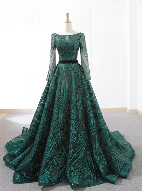 Dark Green Sequins Long Sleeve Backless Weddign Dress With Long Train