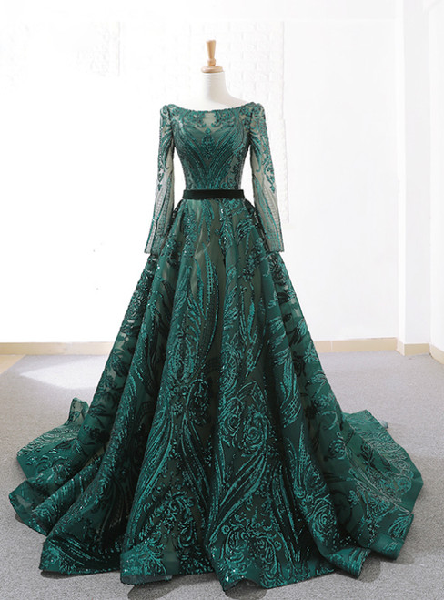 Dark Green Sequins Long Sleeve Backless Weddign Dress With Long Train