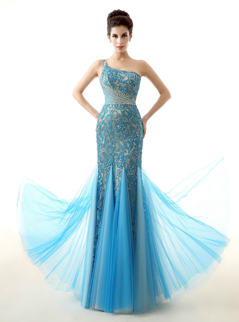 Blue Tulle Lace Mermaid One Shoulder Crystal Prom Dress