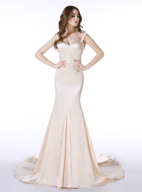 Champagne Satin Mermaid Spaghetti Straps Prom Dress With Beading