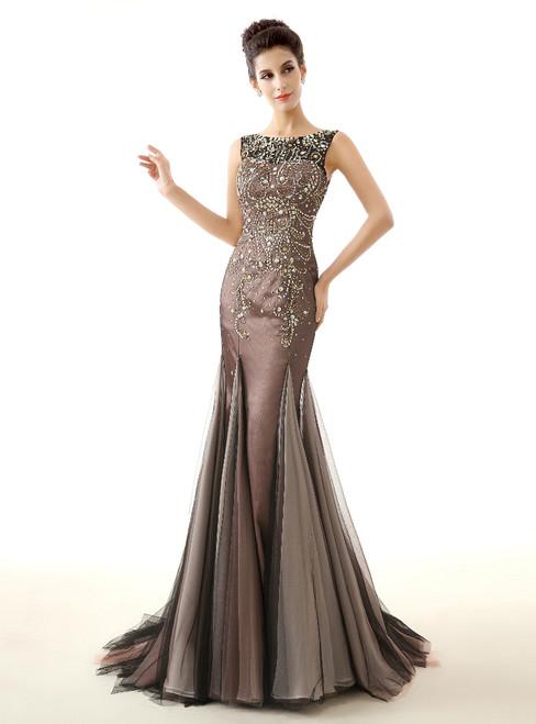 Brown Mermaid Tulle Floor Length Prom Dress With Crystal