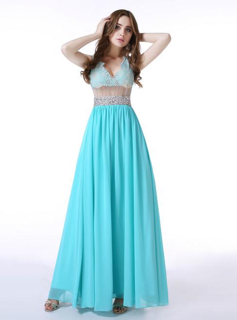 Blue Chiffon Lace V-neck Sexy Back Prom Dress With Crystal
