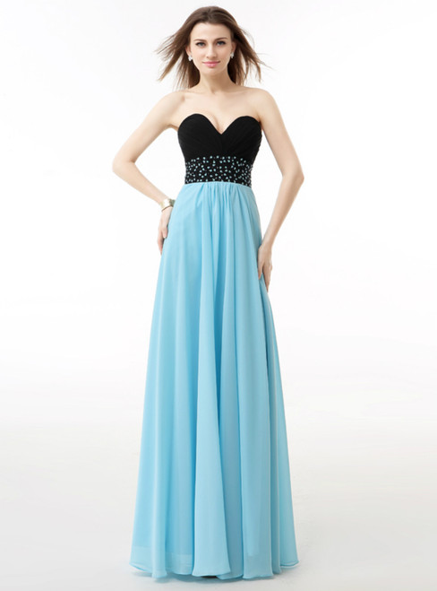 Blue And Black Chiffon Sweetheart Neck Pleats Bridesmaid Dress