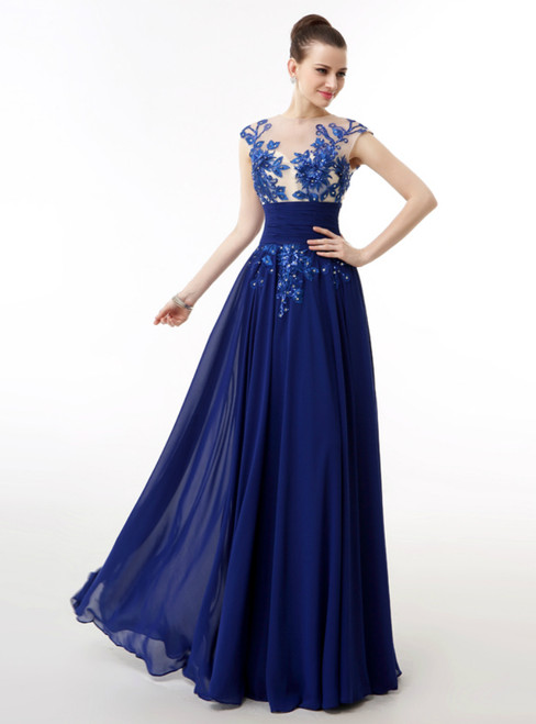 Royal Blue Chiffon Embroidery Sequins Backless Long Prom Dress