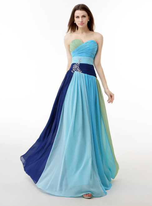 Colorful Chiffon Sweetheart Pleats Prom Dress With Crystal