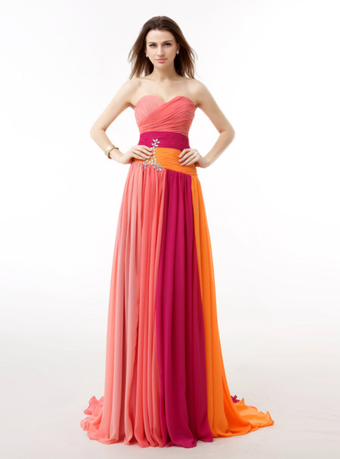 Colorful Chiffon Sweetheart Pleats Long Prom Dress With Crystal