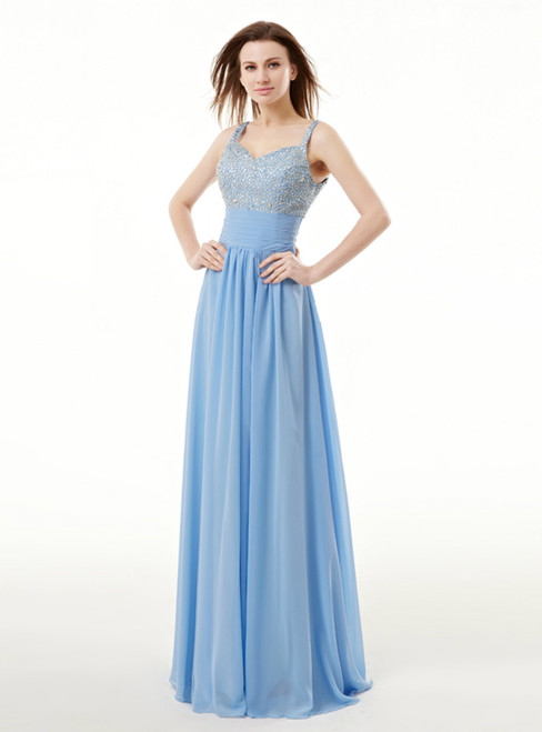 Blue Chiffon Spaghetti Straps Pleats Prom Dress With Sequins