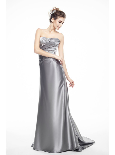 Silver Satin Mermaid Strapsless Pleats Mother Of The Bride Dress