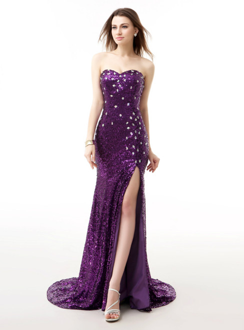 Purple Sequins Mermaid Sweetheartr Neck Prom Dress With Crystal