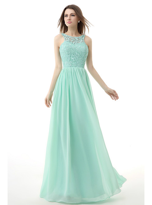 Simple Green Chiffon Lace Backless Bridesmaid Dress