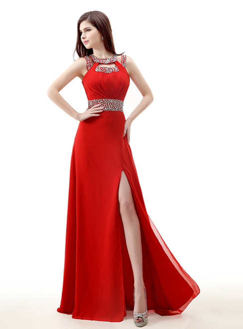 Red Chiffon Cut Out Backless Long Prom Dress With Sequins