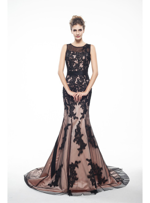Brown And Black Memraid Appliques Backless Prom Dress With Sash