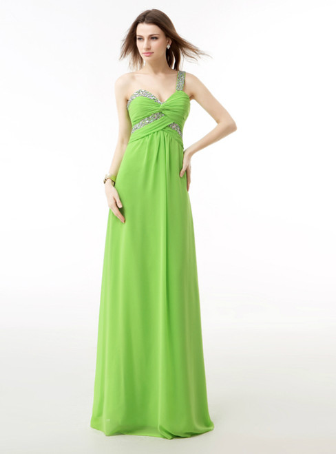 Green Chiffon One Shoulder Pleats Prom Dress With Crystal