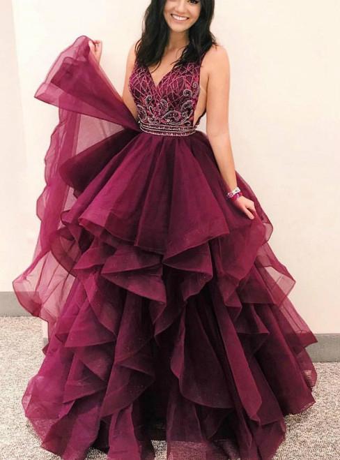 V Neck Burgundy V-neck Tulle Long Prom Dress Quinceanera Dress