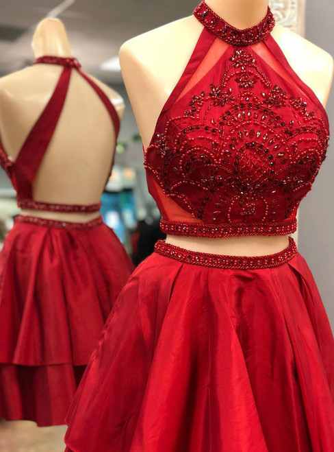 Two Piece Red Satin Halter Backless Homecoming Dress With Crystal