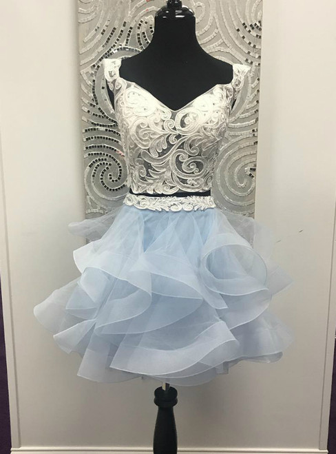 And Light Sky Blue Two Piece Off the Shoulder White Short Party Dress