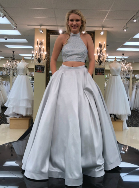 Two Piece High Low Silver Satin Halter Long Prom Dress With Pocket