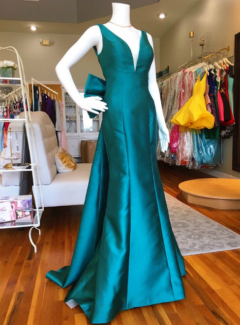 V Neck Turquoise Mermaid V-neck Backless Long Prom Dress With Bow