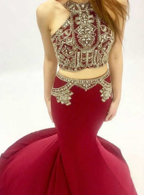 Burgundy Mermaid Two Piece Halter Prom Dress With Beading