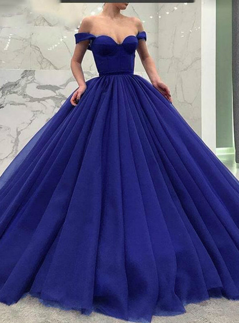 Blue Off The Shoulder Ball Gown Tulle Quinceanera Dress