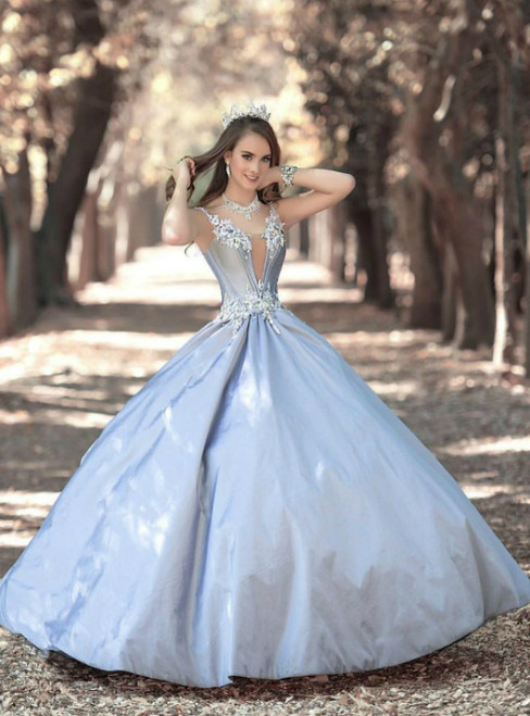 Sexy Blue Ball Gown Tulle Off The Shoulder Quinceanera Dress With Crystal