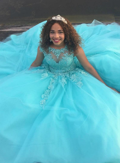 Blue Ball Gown Tulle  Appliques Backless Cap Sleeve Quinceanera Dresses