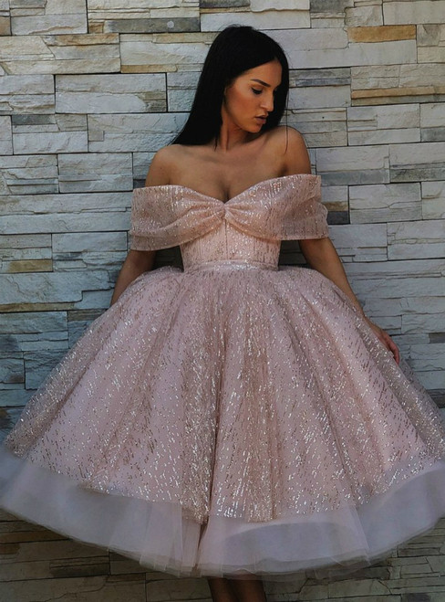 A Line Pink Tulle Sequins Off The Shoulder Sparkly Homecoming Dress