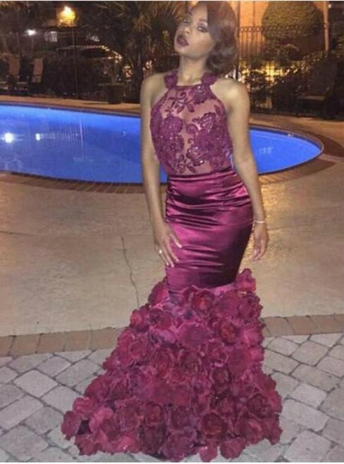 Charming Prom Dress Appliques Prom Dress O-NECK Prom Dress