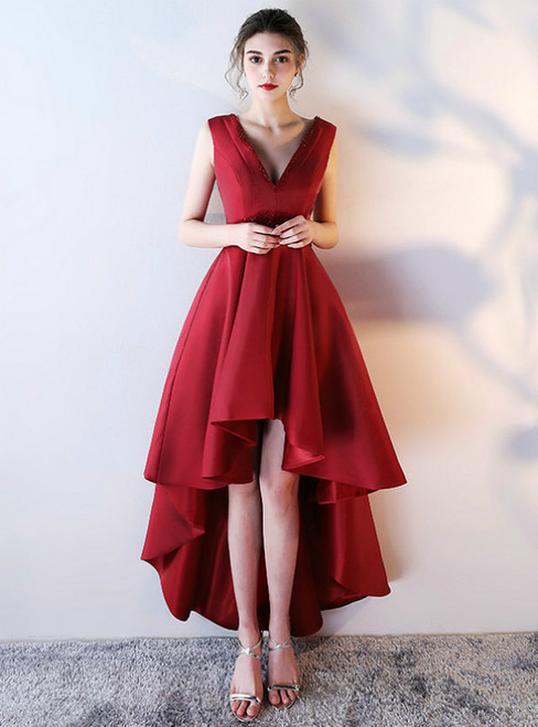 Red V-neck Backless Satin Backless Prom Dress With Beaded