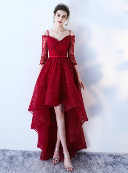 Red Half Sleeves Spaghetti Straps A-Line Lace Sashes Prom Dress