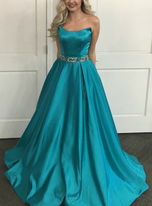 Sexy A-Line Blue Satin Strapless Prom Dress With Beading
