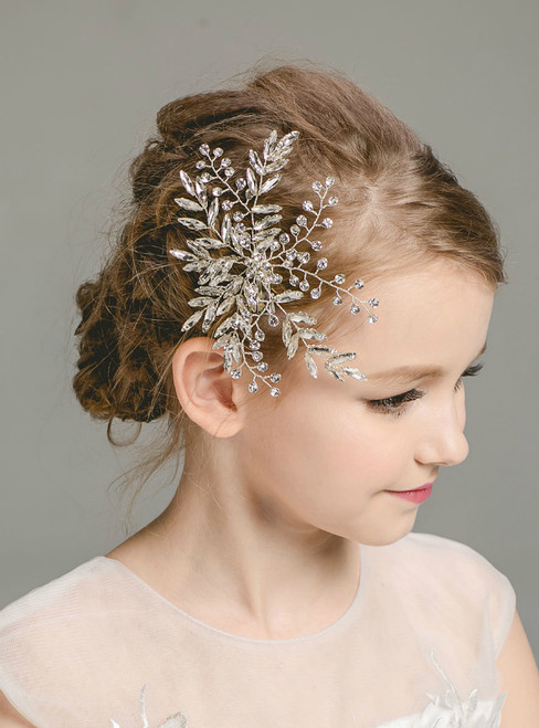 Girl Hair Accessories Girl Flower Crystal White Silver