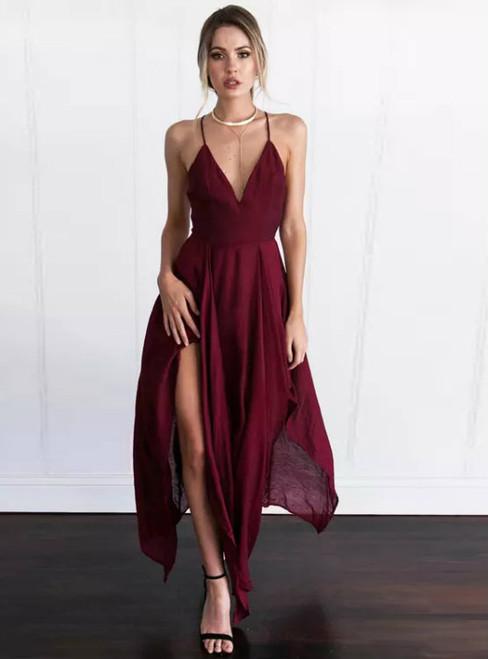 ef0364d1b0a1 Wine Red Chiffon Prom Dresses Simple Prom Dresses A-line Prom Dresses