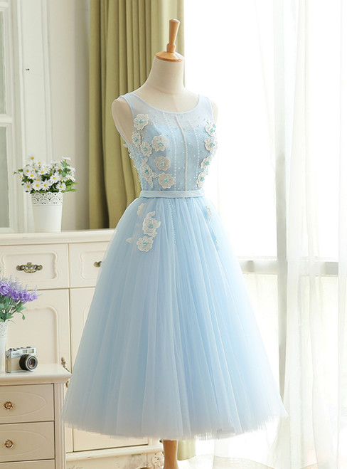A-Line Sky Blue Tulle Backless Appliques Homecoming Dress With Pearls