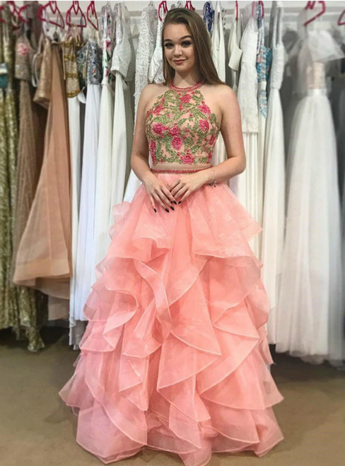 Two Piece Halter Tiered Coral Open Back Prom Dress With Appliques