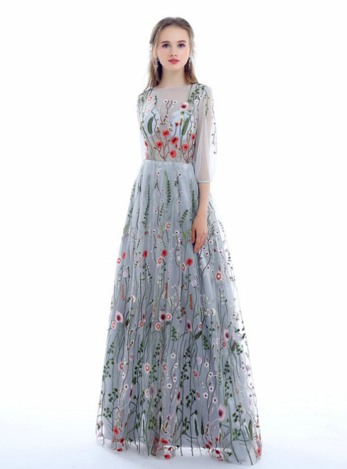 A-line Long Sleeves 3/4 Sleeve Floral Embroidery Evening Dresses